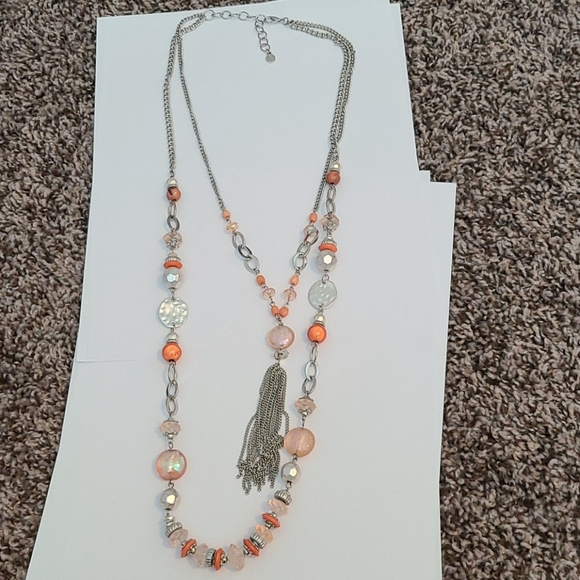 Ruby Rd. Jewelry - Coral and silver tassel necklace